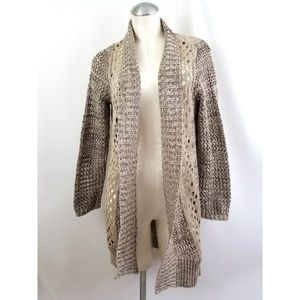 Chico's Size 2 L Tan Taupe Open Cardigan